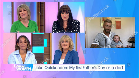 Stock Image of Ruth Langsford, Coleen Nolan, Frankie Bridge, Jane Moore, Jake Quickenden and baby