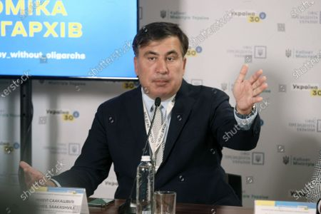 Head of the Executive Committee of the National Reforms Council of Ukraine Mikheil Saakashvili attends a press conference on Day Two of the Ukraine 30. Economy Without Oligarchs Forum in Kyiv, capital of Ukraine.