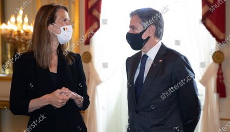 Stock Picture of Belgian Prime Minister Sophie Wilmes and US Secretary of State Tony Blinken pictured ahead of an audience at the Royal Palace