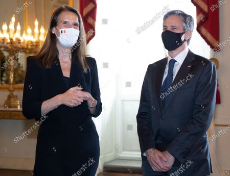 Belgian Prime Minister Sophie Wilmes and US Secretary of State Tony Blinken pictured ahead of an audience at the Royal Palace