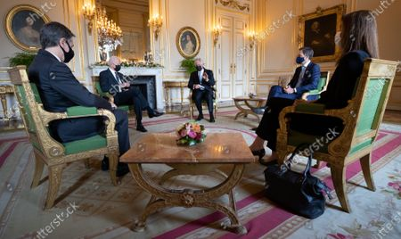 US State Secretary Tony Blinken, US President Joe Biden, King Philippe, Prime Minister Alexander De Croo and Belgian Prime Minister Sophie Wilmes pictured during an audience at the Royal Palace