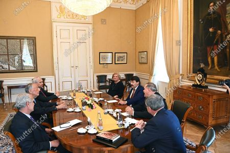 Portugal's President Marcelo Rebelo de Sousa (2-L) and his Hungarian counterpart Janos Ader (3-R), during their meeting at the presidential Alexander Palace in Budapest, Hungary, 15 June 2021.