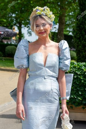 TV personality Georgia Toffolo looked pretty in a pale blue silk outfit as she arrived at Royal Ascot today.