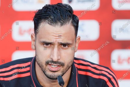 Belgium's Nacer Chadli pictured during a press meeting of the Belgian national soccer team Red Devils, in Tubize, Tuesday 15 June 2021. The team is preparing for the second game of the group phase of the Euro 2020 European Championship.