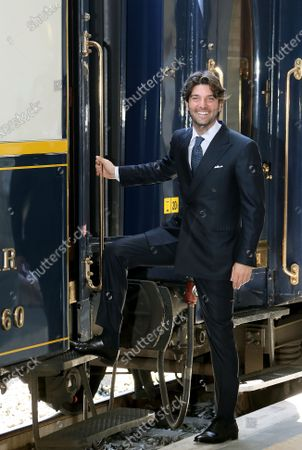 """Stock Photo of Presentation of the """"Train of the Dolce Vita"""" which will start from January 22, which will cross 14 Italian regions, touching the most beautiful and evocative points of our country, on a restored and very luxurious Oriente Espress of 1920. Paolo Barletta CEO Arsenal"""
