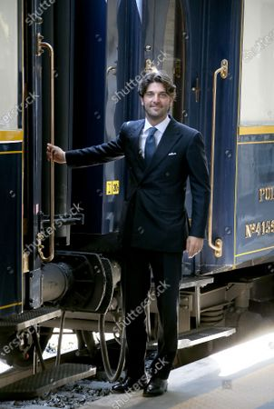 """Stock Image of Presentation of the """"Train of the Dolce Vita"""" which will start from January 22, which will cross 14 Italian regions, touching the most beautiful and evocative points of our country, on a restored and very luxurious Oriente Espress of 1920. Paolo Barletta CEO Arsenal"""