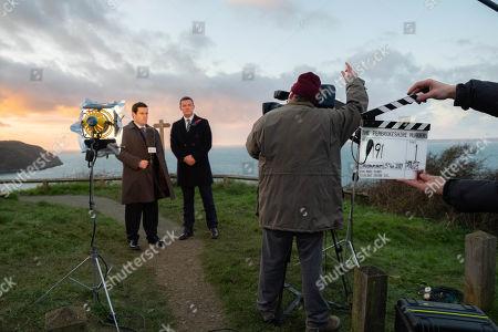 Luke Evans as Steve Wilkins and David Fynn as Jonathan Hill. Behind the scenes.