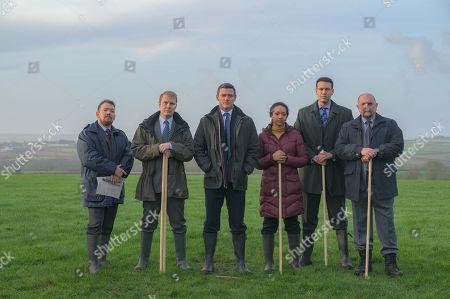 Stock Picture of Luke Evans as Steve Wilkins, Steve Meo as DI Lynne Harries, Richard Corgan as DS Glyn Johnson, Alexandria Riley as DI Ella Richards, Kyle Lima as DC Nigel Rowe and Charles Dale as DS Gareth Rees.