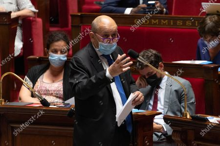 French Foreign Minister Jean-Yves Le Drian during the weekly session of questions to the government at the French National Assembly.