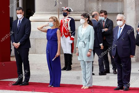 (L-R) Spanish Prime Minister Pedro Sanchez, Spanish Speaker of the Lower House Meritxell Batet, Spanish Upper Chamber Speaker Pilar Llop and Constitutional Court president Juan Jose Gonzalez Rivas attend an official reception for the South Korean's President Moon Jae-In and his wife Kim Jung-Sook, at Royal Palace in Madrid, Spain, 15 June 2021. South Korea President Moon Jae-In is on a three-day official visit to Spain.