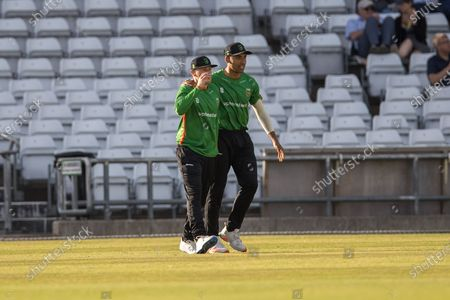 WICKET - Callum Parkinson catches David Willey & is congratulated by Ben Mike during the Vitality T20 Blast North Group match between Yorkshire Vikings and Leicestershire Foxes at Emerald Headingley Stadium, Leeds