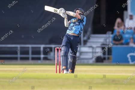 WICKET - David Willey top edges a ball and is caught during the Vitality T20 Blast North Group match between Yorkshire Vikings and Leicestershire Foxes at Emerald Headingley Stadium, Leeds