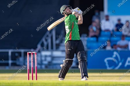 WICKET - Scott Steel skys a ball off David Willey during the Vitality T20 Blast North Group match between Yorkshire Vikings and Leicestershire Foxes at Emerald Headingley Stadium, Leeds