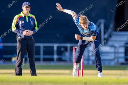 Stock Image of David Willey bowling during the Vitality T20 Blast North Group match between Yorkshire Vikings and Leicestershire Foxes at Emerald Headingley Stadium, Leeds