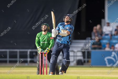 David Willey hits a 6 during the Vitality T20 Blast North Group match between Yorkshire Vikings and Leicestershire Foxes at Emerald Headingley Stadium, Leeds