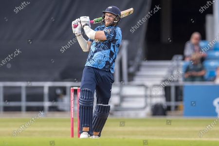 David Willey pulls a ball during the Vitality T20 Blast North Group match between Yorkshire Vikings and Leicestershire Foxes at Emerald Headingley Stadium, Leeds