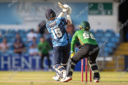 David Willey hits a big 6 during the Vitality T20 Blast North Group match between Yorkshire Vikings and Leicestershire Foxes at Emerald Headingley Stadium, Leeds