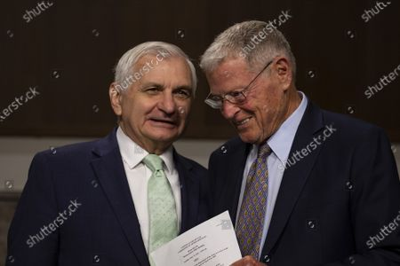 Chairman Sen. Jack Reed, D-R.I and Sen. Jim Inhofe, R-OK, chat before the start of the hearing on Defense Authorization Request for fiscal 2022 and the Future Years Defense Program on Capitol Hill in Washington, DC on Tuesday, June 15, 2021.