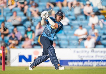 Stock Picture of Yorkshire's David Willey hits a six against the Leicestershire Foxes.