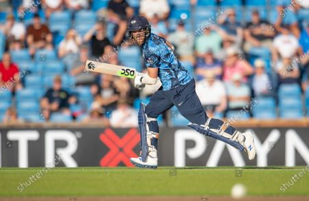 Yorkshire's David Willey hits out against the Leicestershire Foxes.