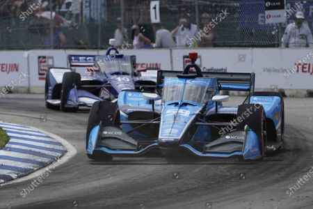 Stock Picture of Max Chilton, of England, races during the first race of the IndyCar Detroit Grand Prix auto racing doubleheader on Belle Isle in Detroit