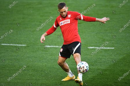 Polish national soccer team player Maciej Rybus during a training session at the Polsat Plus Arena Gdansk, in Gdansk, northern Poland, 15 June 2021. Poland will face Spain in their UEFA EURO 2020 group E preliminary round soccer match on 19 June 2021.
