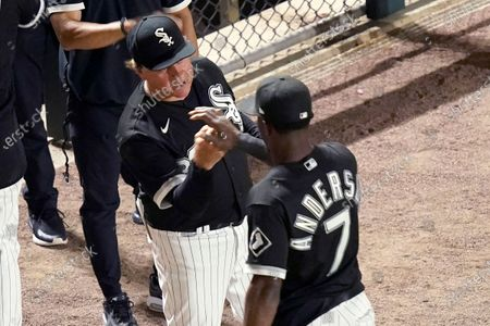 Stock Picture of Chicago White Sox manager Tony La Russa, left, celebrates with Tim Anderson after the team's 3-0 win over the Tampa Bay Rays in a baseball game, in Chicago