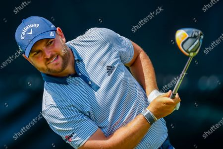 Jordan Smith of England on the seventh tee during a practice round for the 2021 US Open golf tournament on the South Course of the Torrey Pines Golf Course in San Diego, California, USA, 15 June 2021.