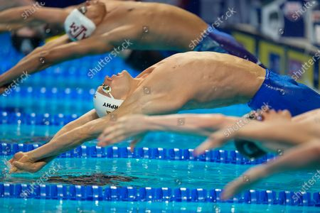 Ryan Murphy participates in the men's 100 backstroke during wave 2 of the U.S. Olympic Swim Trials, in Omaha, Neb