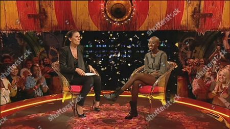 Host Davina McCall interviews latest evictee Ife Kuku