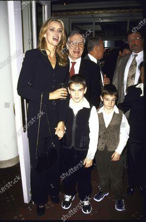 PLAYBOY magazine publisher Hugh Hefner and wife, model Kimberley Conrad, w. their children at National Magazine Awards.