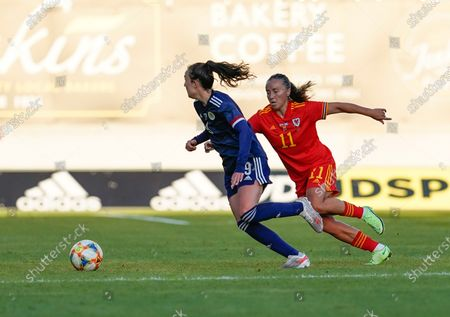 Stock Photo of Caroline Wier (L) and Natasha Harding are seen in action during the Women's Friendly football match between Wales and Scotland at Parc Y Scarlets.(Final score; Wales 0:1Scotland).
