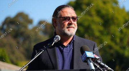 Stock Image of Russell Crowe speaks to the media during an announcement in Coffs Harbour, New South Wales, Australia, 16 June 2021. A studio, including post-production facilities, will be created at the Pacific Bays Resort, providing a major economic boost to the coastal town.