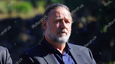Stock Photo of Russell Crowe attends an announcement in Coffs Harbour, New South Wales, Australia, 16 June 2021. A studio, including post-production facilities, will be created at the Pacific Bays Resort, providing a major economic boost to the coastal town.