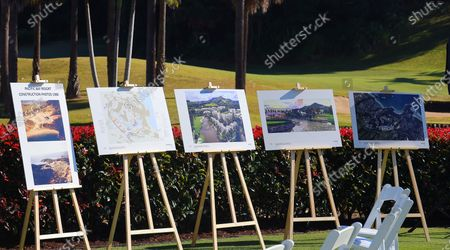 Stock Picture of Plans for a major film studio are displayed during an announcement in Coffs Harbour, New South Wales, Australia, 16 June 2021. A studio, including post-production facilities, will be created at the Pacific Bays Resort, providing a major economic boost to the coastal town.