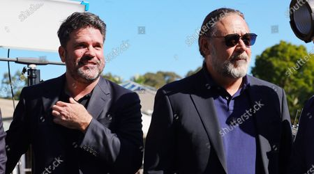 Russell Crowe (R) attends an announcement in Coffs Harbour, New South Wales, Australia, 16 June 2021. A studio, including post-production facilities, will be created at the Pacific Bays Resort, providing a major economic boost to the coastal town.