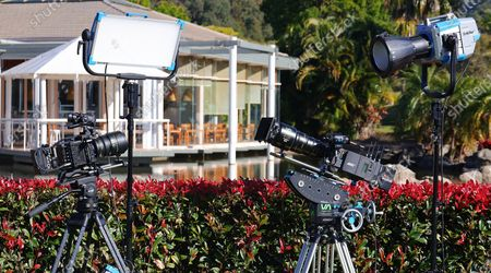 Camera equipment is pictured during an announcement in Coffs Harbour, New South Wales, Australia, 16 June 2021. A studio, including post-production facilities, will be created at the Pacific Bays Resort, providing a major economic boost to the coastal town.