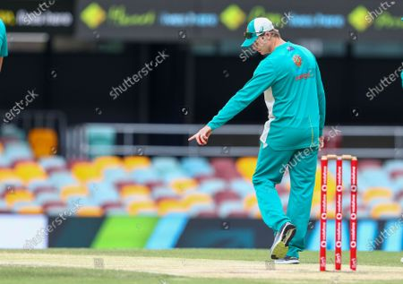 In this, fie photo, Australia's Steve Smith inspects the pitch ahead of play on the final day of the fourth cricket test between India and Australia at the Gabba, Brisbane, Australia. Steve Smith will miss Australia's limited-overs cricket tours to the West Indies and Bangladesh because of an elbow injury while David Warner and Pat Cummins are among the six players who've declared themselves unavailable