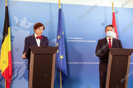 Stock Picture of Walloon Minister President Elio Di Rupo and Prime Minister of Luxembourg Xavier Bettel pictured during a press conference after a diplomatic meeting in Luxembourg, Wednesday 16 June 2021 in Luxembourg, the Grand Duchy of Luxembourg. The meeting focus on bilateral politic and economic relations and cross-boarders cooperation.