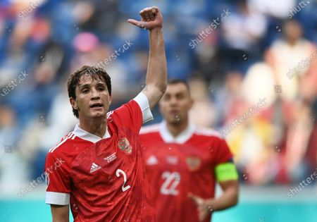 Mario Fernandes of Russia reacts during the UEFA EURO 2020 group B preliminary round soccer match between Finland and Russia in St.Petersburg, Russia, 16 June 2021.