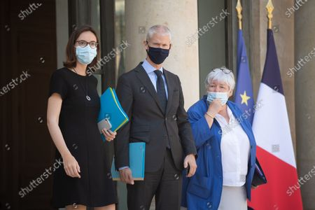 Stock Photo of Franck Riester, Jacqueline Gourault, Amelie de Montchalin leave the Elysee Palace