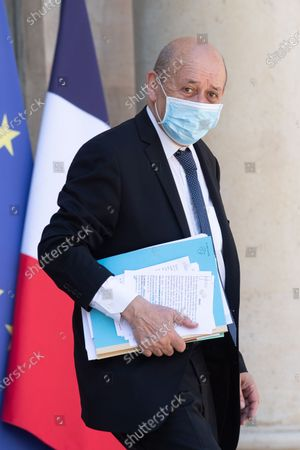 French European and Foreign Affairs Minister Jean-Yves Le Drian leaves the Elysee Palace