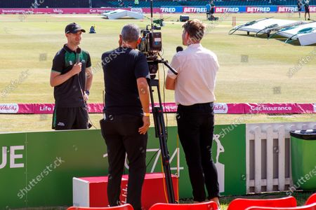 Leicestershire Foxes captail Colin Ackemann interviewed by Sky TV's Nick Knight before the Vitality T20 Blast North Group match between Leicestershire Foxes and Birmingham Bears at the Uptonsteel County Ground, Leicester