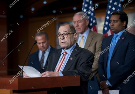 House Judiciary Committee Chair Jerrold Nadler, D-N.Y., joined by, from left, Rep. David Cicilline, D-R.I., chairman of the antitrust subcommittee, Rep. Ken Buck, R-Colo., the ranking member of the antitrust subcommittee, and Rep. Joe Neguse, D-Colo., speaks to reporters about antitrust bills to be introduced at the Capitol in Washington