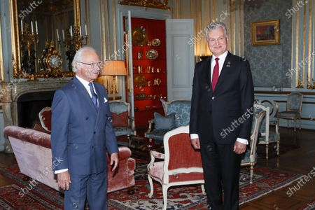 King Carl Gustaf holds audience for Lithuania President Gitanas Nauseda, Stockholm