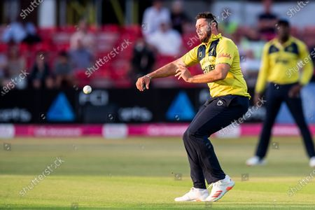 Tim Bresnan of Birmingham Bears throws ball at stumps during the Vitality T20 Blast North Group match between Leicestershire County Cricket Club and Warwickshire County Cricket Club at the Uptonsteel County Ground, Leicester