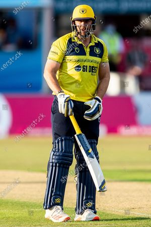 Stock Image of Tim Bresnan of Birmingham Bears batting during the Vitality T20 Blast North Group match between Leicestershire County Cricket Club and Warwickshire County Cricket Club at the Uptonsteel County Ground, Leicester
