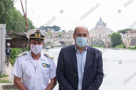 Nicola Zingaretti, President of Lazio Region, together with commander of Port Authority of Rome, Antonio D'Amore