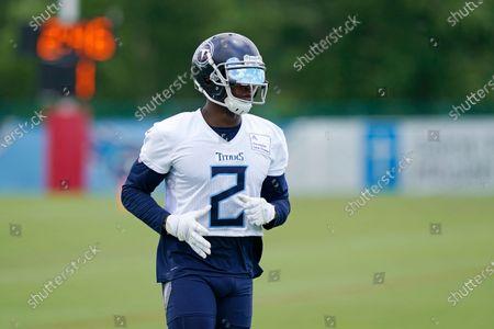 Tennessee Titans wide receiver Julio Jones runs a drill during an NFL football minicamp, in Nashville, Tenn