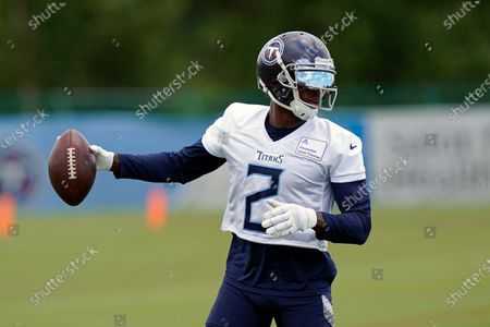 Stock Image of Tennessee Titans wide receiver Julio Jones runs a drill during an NFL football minicamp, in Nashville, Tenn